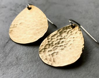 Gold Brass Teardrop and Sterling Silver Earrings - Brass Teardrops on Sterling Silver Earwires
