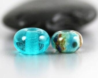 30% OFF SALE Lampwork Glass Beads - Aqua Pair - Lampwork Beads - Aqua Brown