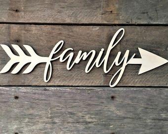 Family Arrow Word, Wall Decor, Wall Hanging, Inspirational, Teens Room, Childs Room, Classroom
