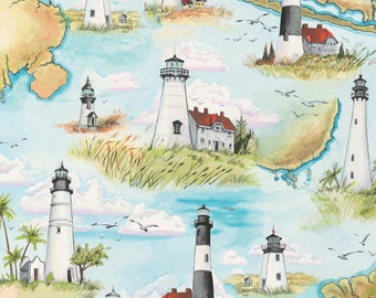 Beach Fabric Cotton Quilting High Tide Lighthouses 42814-X  (1/2 yd) cuts Quilting Sewing Crafting Fabrics Material Quilts