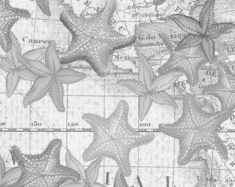 Beach Fabric Cotton Quilting High Tide Gray Starfish 42817-2 (1/2 yd) cuts Quilting Sewing Crafting Fabrics Material Quilts