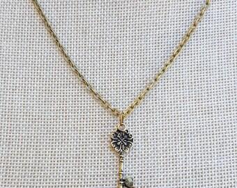 Key To My Heart Necklace, Skeleton Key Necklace, Key Pendant, Layering Necklace, Key Charm, Antique Brass Key Necklace