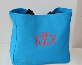 13 Monogram Bridesmaid Tote Bags, Personalized Custom Embroidery Wedding Party Gift