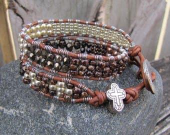 Earthy double wrap Bracelet, Beaded leather bracelet, bracelet,beaded leather wrap,boho bracelet