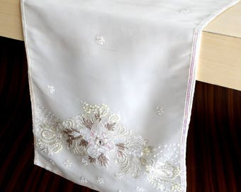 "Off White Organza with Bead & Sequin Hand Embroidery Table Runner, 14"" x 72"" Wedding Decor Table Linen Elegant Table Linen"