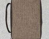 Brown Herringbone Bible Cover- Monogrammed