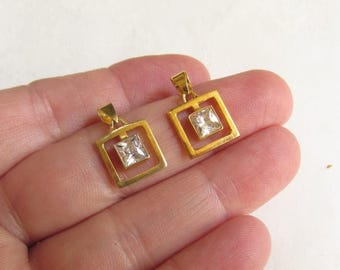SALE 20% Off Sterling Silver Gold Vermeil Diamond CZ Pendant Finding Charm, QTY1 , Rectangle Gemstone, Soild 925 Silver