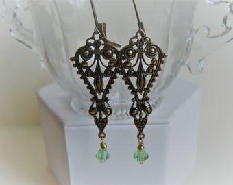 Filigree Dangle Earrings, Long Earrings, Swarovski Crystals, Unique Handmade Earrings, Women's Accessories, Unique Gifts, Ready to Ship