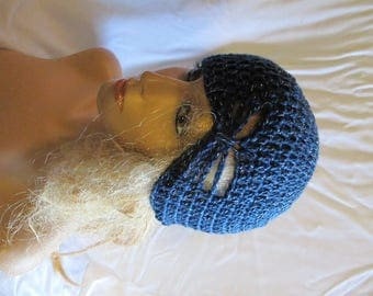 Navy Sparkle Butterfly Stitch Accent Beanie/Turban