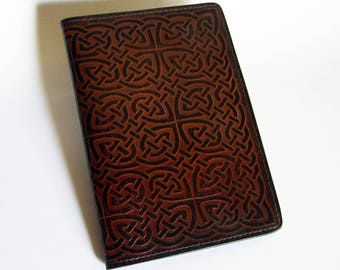 "Leather Journal Cover - Moleskine Notebook Cover - Fits 5"" x 8.25"" Cahiers - Celtic Rope/Knot Pattern"