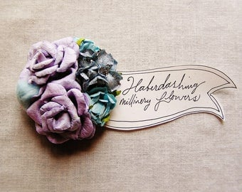 Sky Blue Lavender Sweetheart Roses velvet puffball Handmade millinery flower corsage hair bow supply
