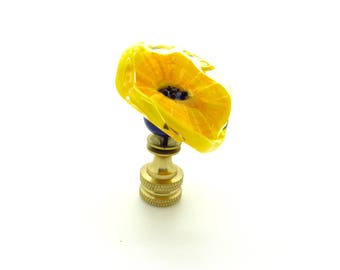 Handmade Glass Lamp Finial - Yellow, and Green Flower. Brass or Nickel Hardware.  The light shines through  when light is on!