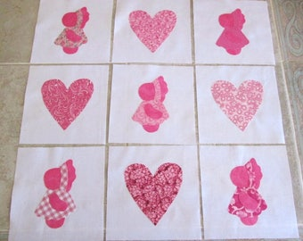 "Set of 9 Sweet Pink Sunbonnet Sue's and Hearts  6"" x 6""  Cotton Quilt Blocks"