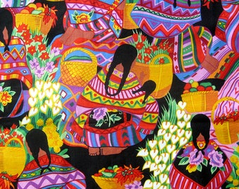 Alexander Henry Yardage - SOUTHWEST MEXICAN WOMEN Fabric Rare Alexander Henry Zocalo Design