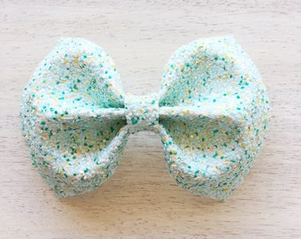 Honeydew Glitter Jenny Bow. Frappe Collection. 4 inch Large Bow. Clip or Headband. RTS