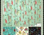 CUSTOM-Made Valances Panels Tiers Swags ~You Choose Size ~ Lined or Unlined ~ Rod pocket or grommets - Atomic Cats Retro turquoise Diner