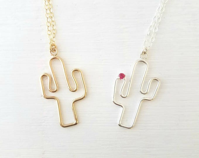 Cactus Necklace in Sterling Silver or Gold Filled