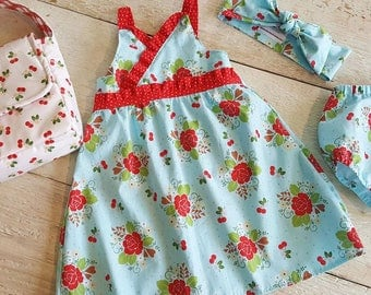 Sweet Summer Dress, Little Girl Flower Dress, Aqua Red Vintage Rose, Ruffles Pin Dot Polka Dots Ready to ship