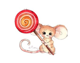 Lollipop Mouse Fine Art Print