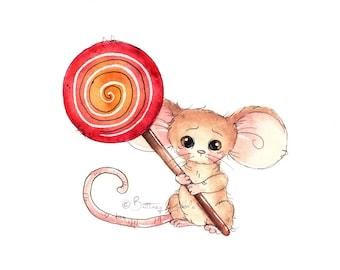 Lollipop Mouse Fine Art Print