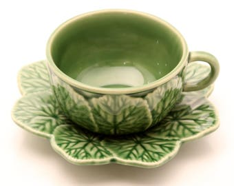Bordallo Pinheiro Cabbage Cup and Saucer