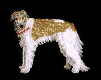 BORZOI beaded Russian Wolfhound dog pin brooch - Jewelry gift for Her (Made to Order)