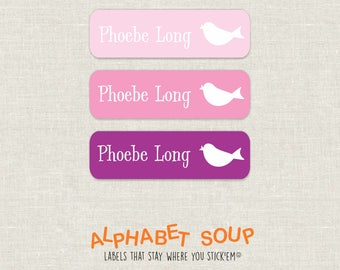 72 personalized dishwasher safe bird labels | choose colors and fonts | microwave safe and waterproof