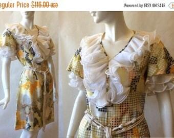 MOVING SALE Vintage 1960's Chiarella Italian wild ruffled dress, with geometric print, puffed sleeves, rope belt, and ruffled neckline, size