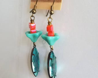 Turquoise Blue Crystal Earrings, Coral Pink, Orange Crystal, Beaded Earrings, Summer Earrings Under 10
