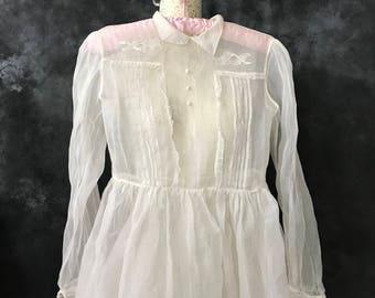 Vintage 1950's white organdie dress