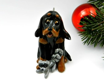 Black and Tan Coonhound Christmas Ornament Figurine Raccoon Porcelain