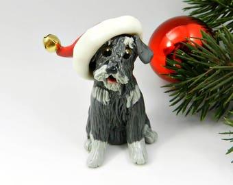 Schnauzer Salt Pepper Christmas Ornament Figurine Santa Hat Porcelain