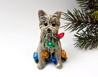 Cairn Terrier Light Brindle Christmas Ornament Figurine Lights Porcelain
