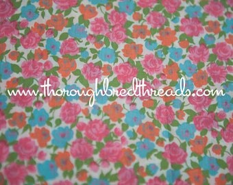 Happy Roses- Vintage Fabric New Old Stock Pink Turquoise Orange