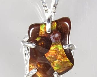 Fire Agate, 9.09 carats, Hand Set in Sterling Pendant with Sterling Chain  -  NOW on SALE  -  Fast Free Shipping with gift wrap