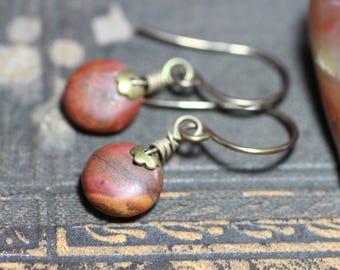 Red Creek Jasper Earrings Antiqued Brass Gemstone Earrings Rustic Jewelry
