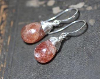 Sunstone Earrings Silver Wire Wrapped Briolette Orange Gemstone Rustic Jewelry