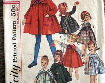 SAVE - ON SALE Vintage Simplicity sewing pattern #5045 -Child's size 5 - smock dress with detachable collar