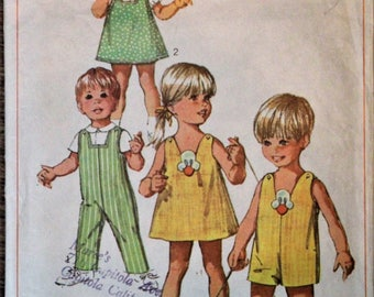 Vintage Simplicity sewing pattern #8166 - ©1969 - Toddler Size 2 - Overalls in two lengths, jumper and blouse -COMPLETE WITH TRANSFER