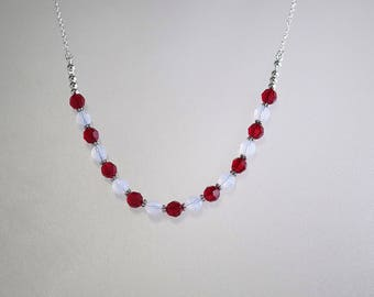 Swarovski Crystal & Silver FIlled Necklace - Bride, Bridesmaids, Flower Girls, Maid of Honor, Party, Prom - 2 Colors - Any Colors