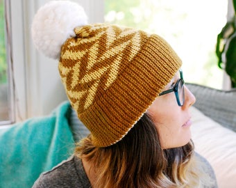 Machine Knit Hat // Arrow Fair Isle Pattern // Winter Accessory // Soft and Squishy