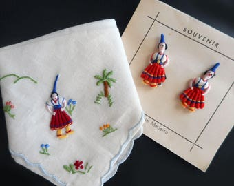 Vintage Tiny Doll Handkerchief and Earrings Madeira Portugal Souvenir Clip On Traditional Dress Worry Doll Red Blue White Linen Hankie Hanky