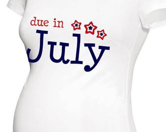SALE - ships in time 4th Due in July patriotic stars  long or short sleeve maternity or non maternity pregnancy announcement Tshirt