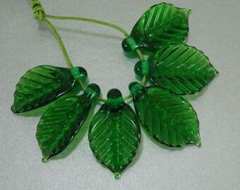 Leaf Bead Angled Veined Handmade Lampwork Leaf Bead SRA FHF