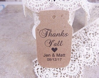 Personalized Mason Jar Tags - Rustic Wedding - Wedding Gift Tags - Wedding Favor Tags - Thank You Tags - Custom Wedding Tags