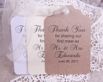 Mr. and Mrs. Thank You Wedding Favor Tags, Rustic Wedding Gift Tags, Thank You for Sharing Our First Meal, Personalized Wedding Tags