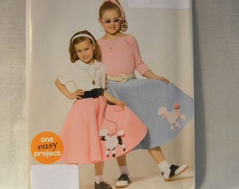 Uncut Simplicity Pattern 0898 Easy Child's Poodle Skirt Costume