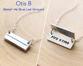 CUSTOM Thin Blue Line or Red Line bar necklace, engraved Cop shield badge number Hero police officer law enforcement FireFighter wife