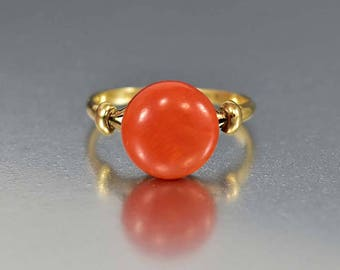 ON HOLD Antique 18K Gold Coral Ring, Red Coral Solitaire Edwardian Engagement Ring, Orange Stone Boho Stacking Ring