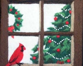 Needle Felted Wool Painting - Christmas Cardinal in a Window - Male Cardinal - Red Bird - Christmas Gift